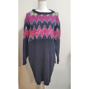 Solutions! Pink & Blue Sequin Sweater Dress Small